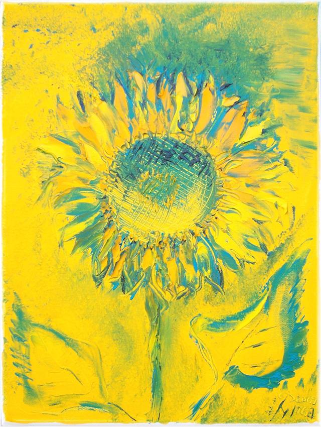 Jens-Nagel-Sonnenblume-auf-Grün-und-Gelb, 40x30 cm